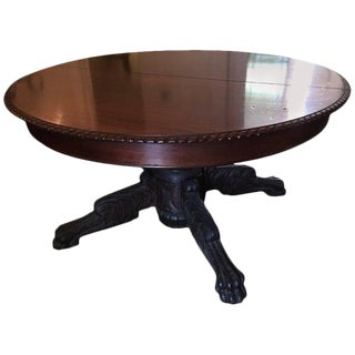 Round American Empire Pedestal Dining Table With Extension Leaf, 19th Century For Sale