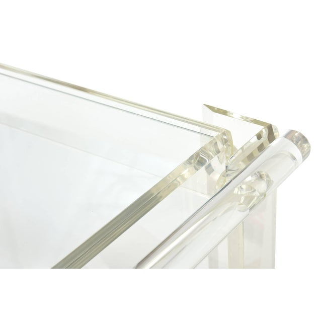 Americana 1970s Modern Lucite Mirrored and Glass Two-Tier Bar Cart or Trolley For Sale - Image 3 of 10