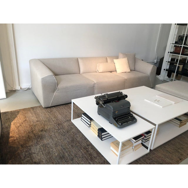 Modern Modular Sofa and Ottoman Light Grey and White Piping by Mdf Italia For Sale - Image 4 of 12