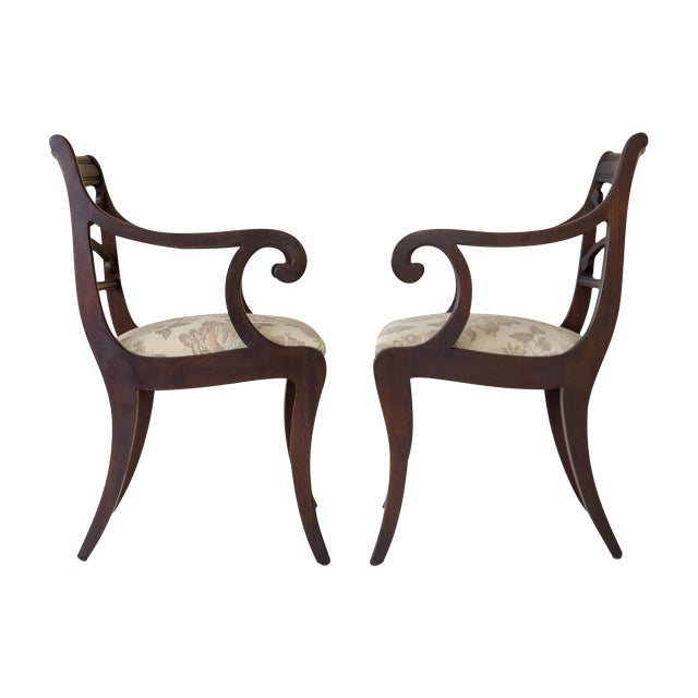 Regency Scrolled Armchairs - A Pair - Image 1 of 8