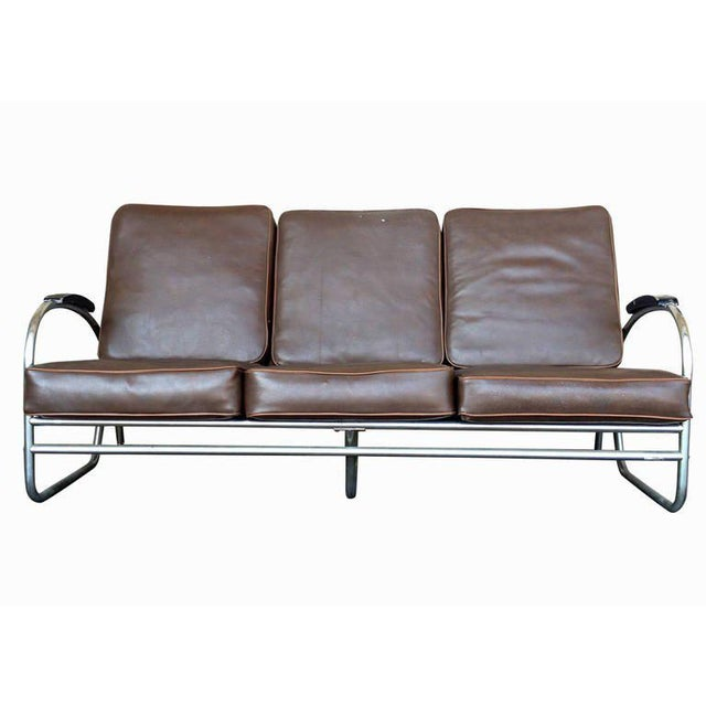 Wolfgang Hoffmann Style Chrome Tublar Sofa by Royal Metal - Image 2 of 9