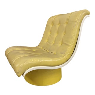 Mid Century Fiberglass Yellow Modern Wave Lounge Chair For Sale