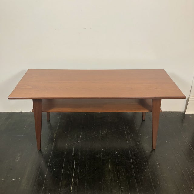 1960s Danish Modern Walnut 2 Tier Coffee Table For Sale - Image 5 of 5