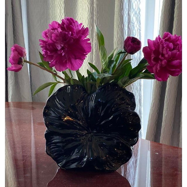 Beautiful Peony Bloom designed vase in a black ceramic glaze and a hand painted gold stamen. The vase opening measures...