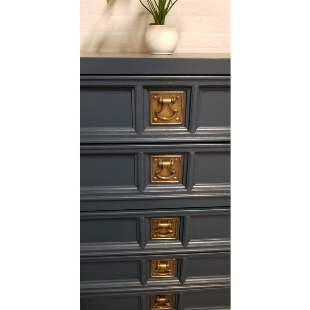 Campaign 1970s Nautical Navy Blue Chest of Drawers For Sale - Image 3 of 4
