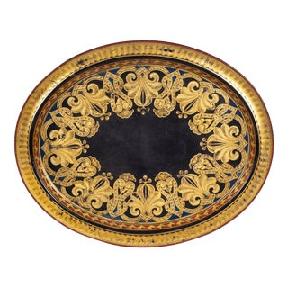 English Black Lacquered & Parcel Gilt Tray on Stand For Sale