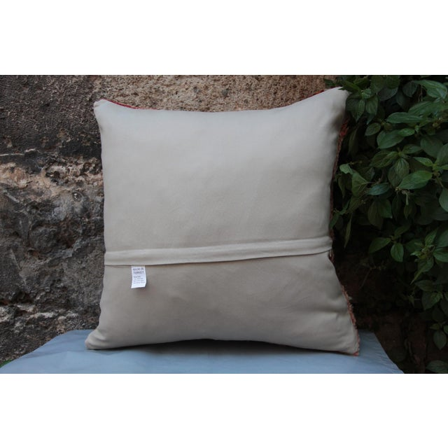 Blue Vintage Turkish Oushak Pillow For Sale - Image 8 of 9
