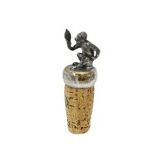 Silver-Plate Monkey Wine Stopper For Sale
