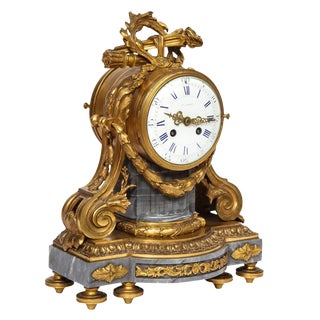 French Ormolu-Mounted Bleu Turquin Marble Clock, Japy Frères, Circa 1880 For Sale