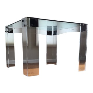 Vintage Modern Glass Top Square Table With Acrylic Legs For Sale
