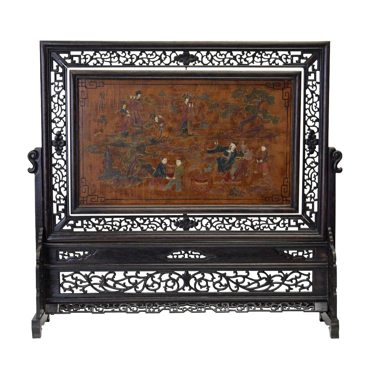 Chinese Lacquer Table Top Screen Chairish