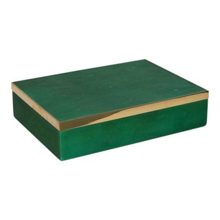 Genuine Shagreen Decorative Box in Vibrant Green with Brass Accent For Sale