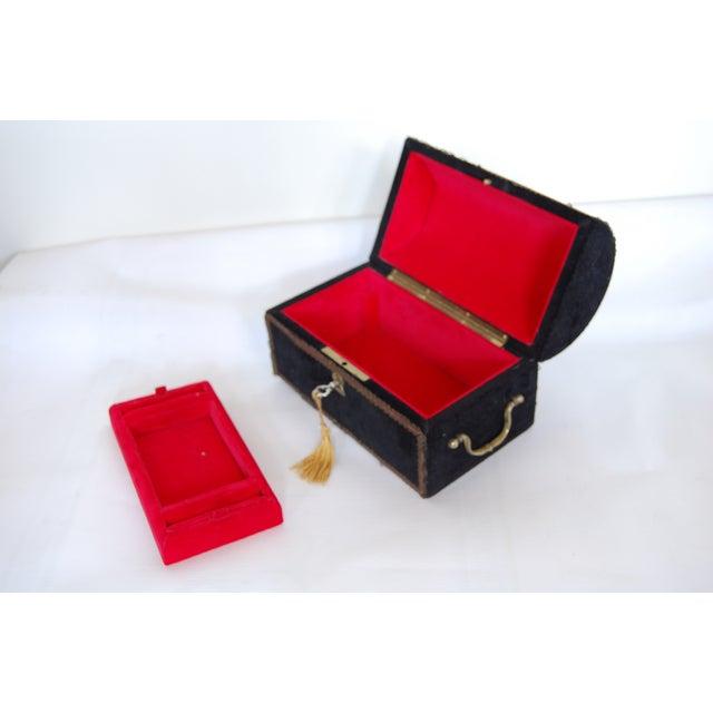 Antique French Black Velvet Jewelry Chest - Image 2 of 5