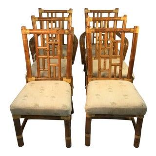 1960s Vintage Bamboo Chairs- Set of 6 For Sale