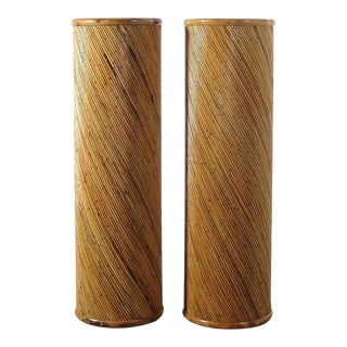 70's Split Reed Pedestals After Gabriella Crespi - a Pair For Sale
