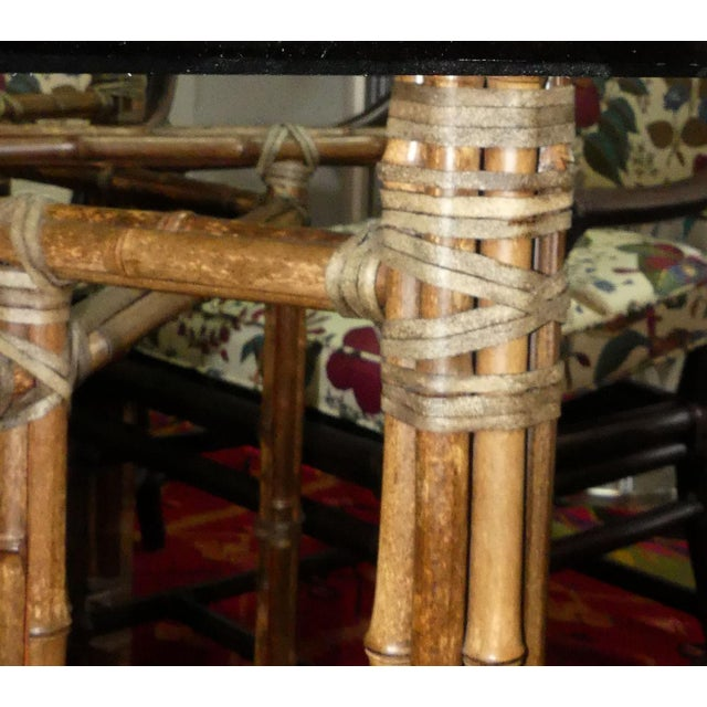 McGuire Bamoo and Laced Rawhide Octagonal Dining Table For Sale - Image 9 of 13