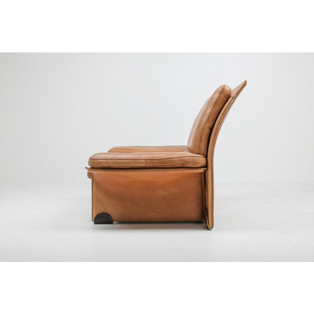 Thick Camel Leather Club Chairs by Titiana Ammanati & Giampiero Vitelli for Brunati - 1970s For Sale - Image 12 of 12