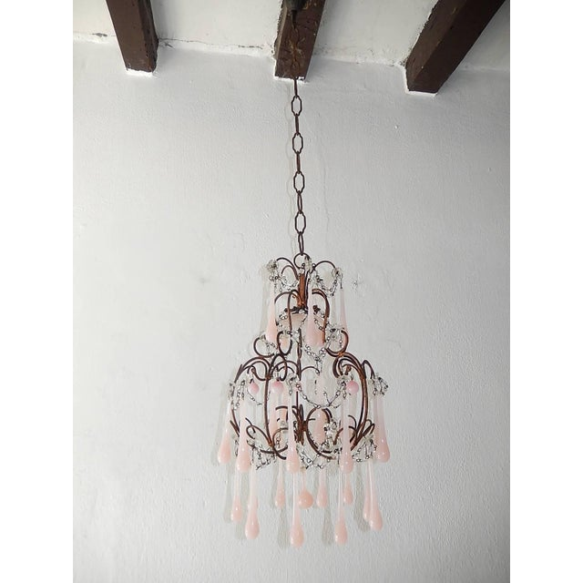 French Pink Opaline Murano Drops Chandelier, circa 1920 For Sale - Image 9 of 9