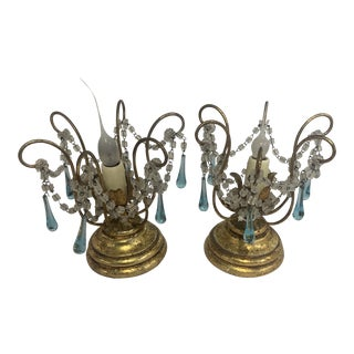 Small Lamps With Blue Crystals - a Pair For Sale