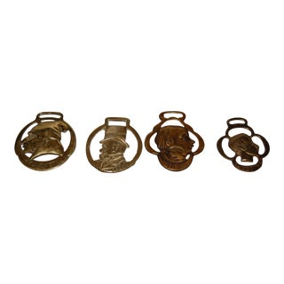 Vintage Charles Dickens Inspired Brass Horse, Scrooge, Tom Pinch, the Cabby, Oliver Twist Medallions - Set of 4 For Sale