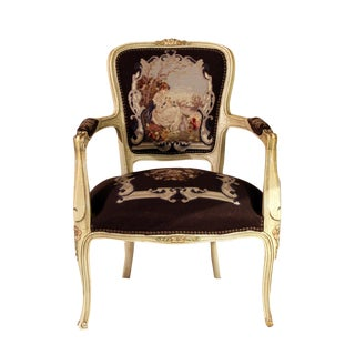 Antique French Louis XV Needlepoint Chair For Sale