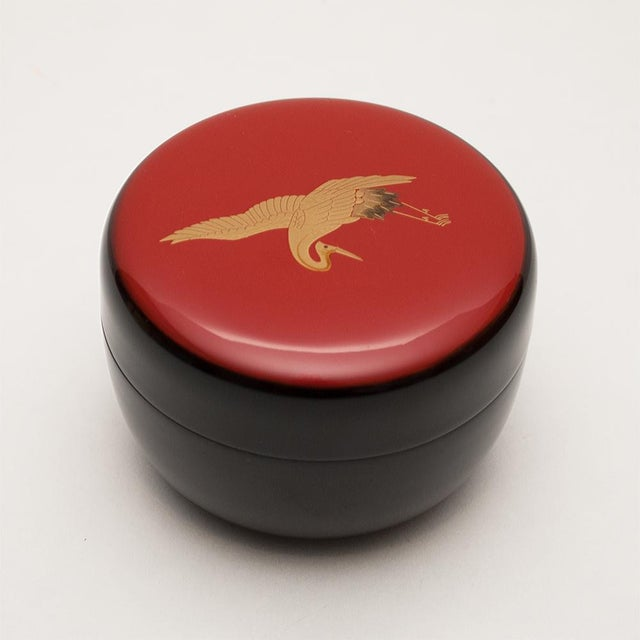 Asian Japanese Lacquered Black Painted Wood Tea Caddy in a Wood Box For Sale - Image 3 of 13