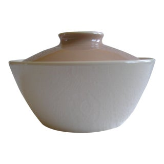 20th Century Cottage White Harkerware Covered Casserole Serving Dish For Sale