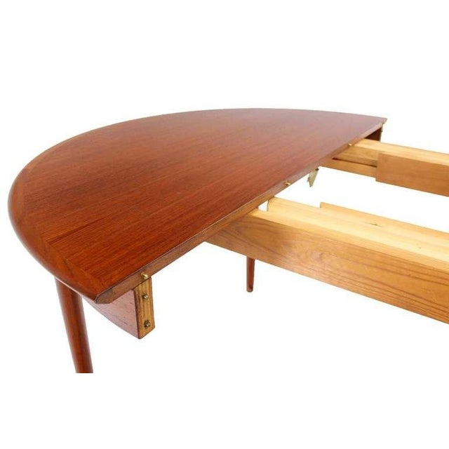 Brown Danish Mid-Century Modern Round Teak Dining Table with Three Leaves For Sale - Image 8 of 9