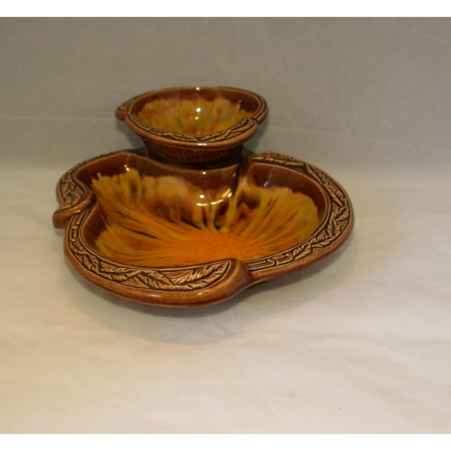 Mid-Century Modern Vintage California Pottery Orange Sunburst 2 Tier Serving Dish For Sale - Image 3 of 8