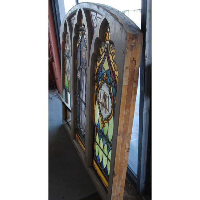 Antique Stained Glass Church Window - Image 3 of 8