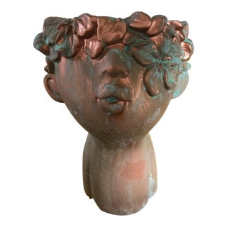 Flower Girl Kissing Bust Copper Patina Indoor Outdoor Head Planter For Sale