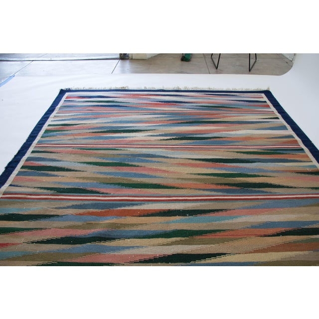 "Multicolor Dhurrie Area Rug - 6' X 8'6"" - Image 6 of 7"