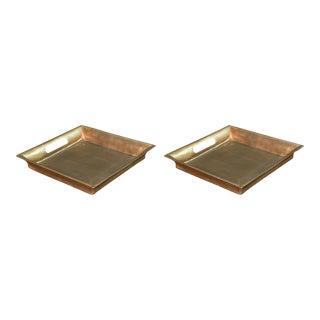 Sarreid Ltd. Antiqued Copper Aluminum Tray - a Pair For Sale