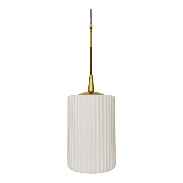 Mid-Century Modern Opaline Glass and Brass Pendant Lamp For Sale
