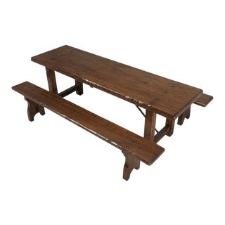 French Farm Table With Matching Benches - 3 Pc. Set For Sale