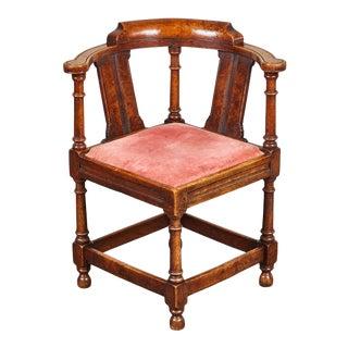 18th C. George III Oak and Elm Corner Chair For Sale