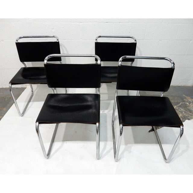Nico Zograph Chrome Leather Sling Chairs - S/4 - Image 10 of 10
