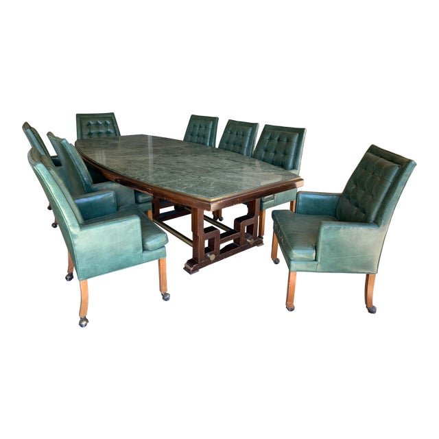 1968 Mid-Century See Mar Jadeite Table With Leather Chairs For Sale