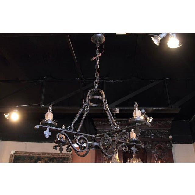 19th Century French Gothic Black Hand-Forged Wrought Iron Four-Light Chandelier For Sale - Image 10 of 10