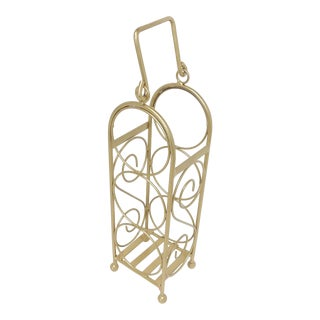 Hollywood Regency Gold Iron Wine Bottle Rack For Sale