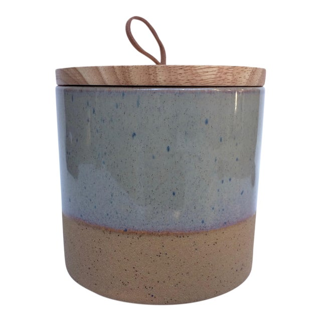 Medium Speckled Ojai Stoneware Canister For Sale