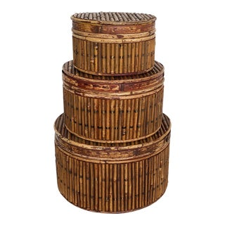 Pencil Reed Rattan Stack Boxes-Set of Three For Sale
