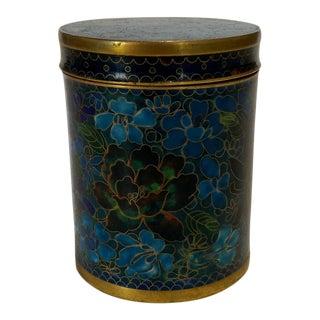 Vintage Blue-Tone Cloisonne Cylinder Box For Sale