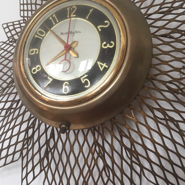 Brass Starburst Wall Clock - Image 4 of 7
