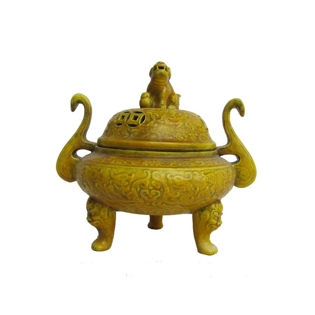 Chinese Yellow Glaze Ceramic Incense Burner - Image 1 of 6