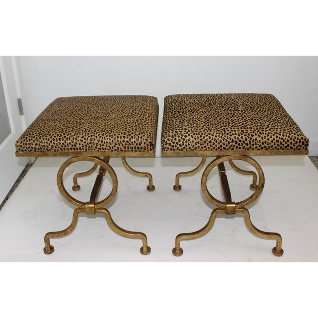 Hollywood Regency Vintage Arbus Style Gilt Wrought Iron and Faux Leopard Low Stools - a Pair For Sale - Image 3 of 9