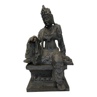 "Composition Vintage Thai Buddha on Pedestal, 47"" Tall For Sale"
