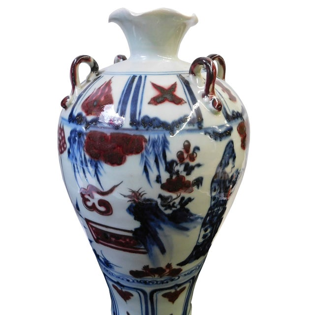 Chinese Red, White & Blue Scenery Vase - Image 3 of 7