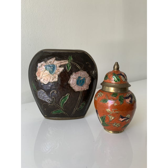 Brass Vintage Enameled Brass Vase & Jar - Pair For Sale - Image 8 of 9