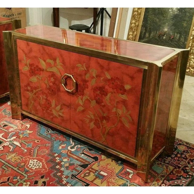 Mastercraft Mastercraft Chinoiserie Style Faux Tortoise Commode With Red Lacquer Interior For Sale - Image 4 of 9